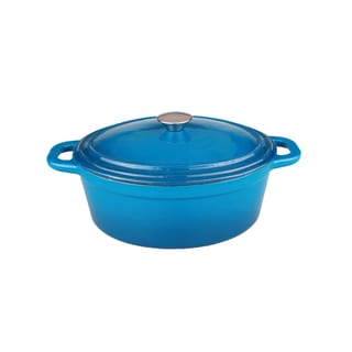 BergHOFF Neo 8-quart Blue Cast Iron Oval Covered Casserole Dish