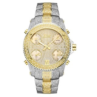 JBW Men's Jet Setter Two-tone 18k Gold-plated Stainless Steel Case Diamond Accented Watch