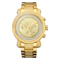 Victor Men'S Gold-Plated Multi-Function Diamond Watch