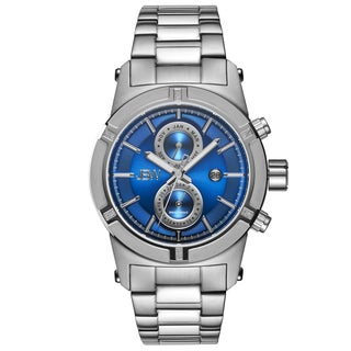 JBW Strider Men's Stainless Steel Blue Dial Diamond Accented Bezel Watch