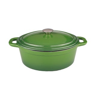 BergHOFF Neo 8-quart Green SS Knob Cast Iron Oval Covered Casserole Dish