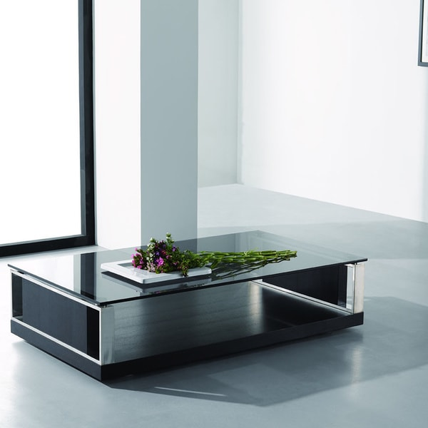 Modrest Upton Modern Square Glass Coffee Table Coffee: Modern Black Coffee Table