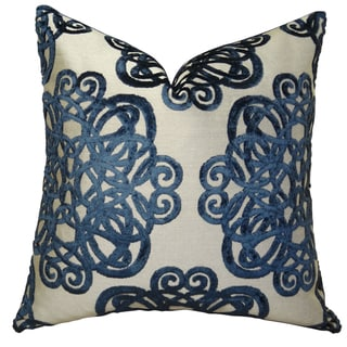 Plutus Luxury Graphic Navy/ Taupe Archetype Sapphire Handmade Throw Pillow