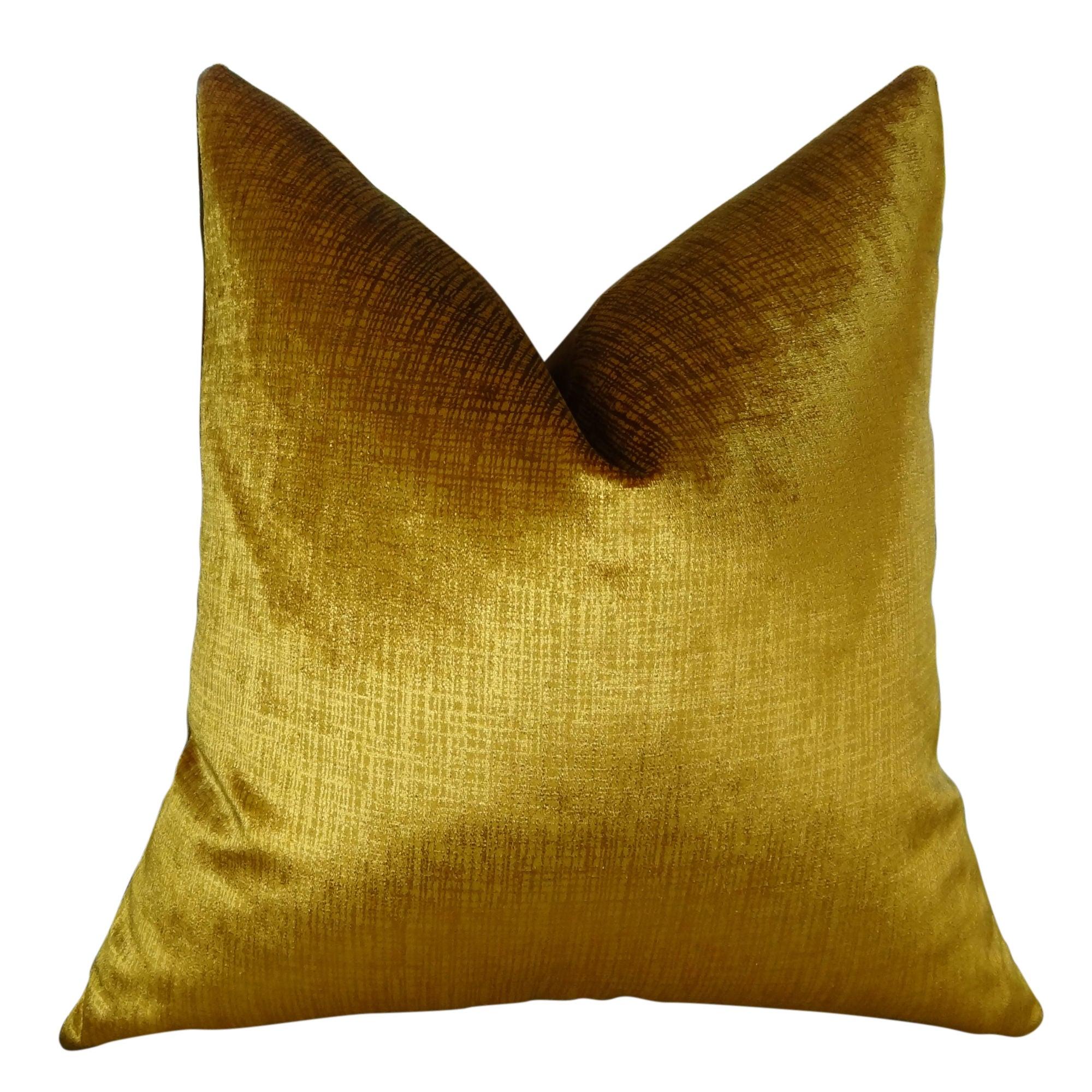 "Plutus Lumiere Bronze Handmade Throw Pillow (24"" x 24""), ..."