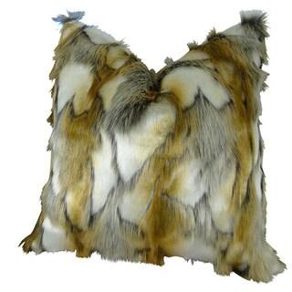 Plutus Luxury High Low Pile Brandy Faux Fox Fur Handmade Throw Pillow
