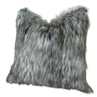 Plutus Luxury Grey White Siberian Faux Husky Handmade Throw Pillow