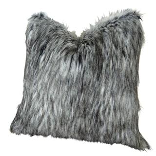 Plutus Luxury Grey White Siberian Faux Husky Handmade Throw Pillow