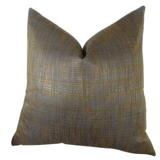 Plutus Luxury Copper Brown Metallic Clonamore Handmade Throw Pillow