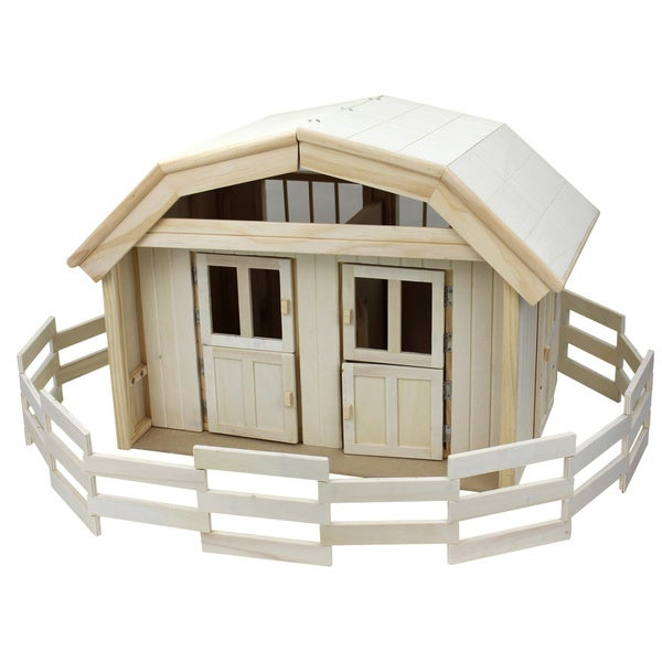 Homewear Deluxe Toy Fenced Wooden Stable