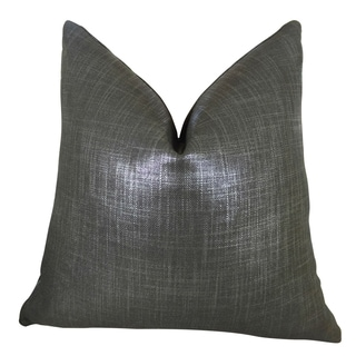 Plutus Luxury Charcoal Grey Metallic Glazed Linen Indigo Handmade Double-sided Throw Pillow
