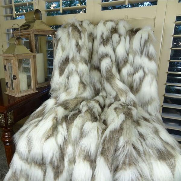Plutus Luxury Ivory Grey Tibet Faux Fur Throw