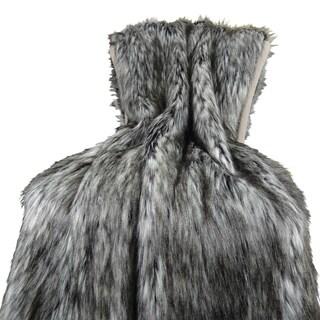 Plutus Luxury Grey Faux Fur Siberian Husky Throw