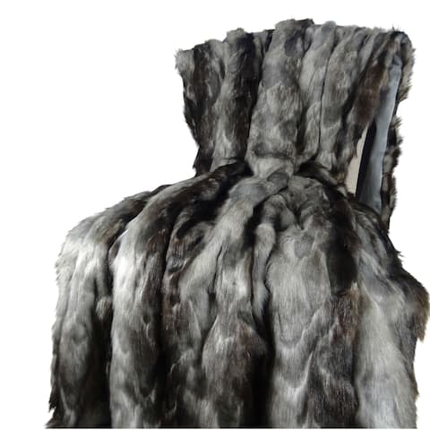 Plutus Luxury Brandy Grey Faux Fur Throw