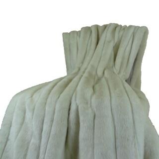 Plutus Luxury Ivory Fancy Faux Mink Throw Blanket