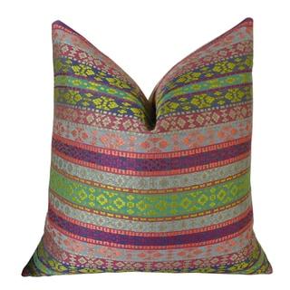 Plutus Fuchsia Stripes Handmade Double Sided Throw Pillow