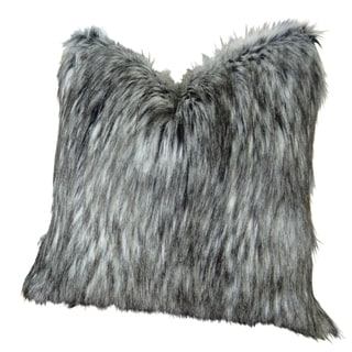 Plutus Luxury Grey Faux Siberian Husky Handmade Double-sided Throw Pillow