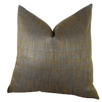 Plutus Luxury Copper Brown Metallic Clonamore Handmade Double-sided Throw Pillow