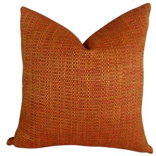 Plutus Luxury Orange Chenille Intermix Handmade Throw Pillow