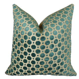 Plutus Velvet Turquoise Geometric Handmade Throw Pillow