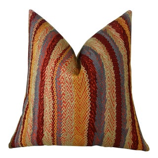 Plutus Red Earth Embroidered Stripe Handmade Throw Pillow