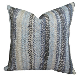 Plutus Luxury Emroidered Grey/ Blue Zigzag Rows Graphite Handmade Throw Pillow