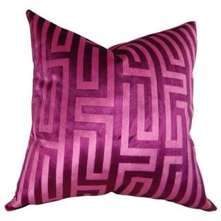 Plutus Luxury Fushia Cesire Velvet Maze Handmade Throw Pillow