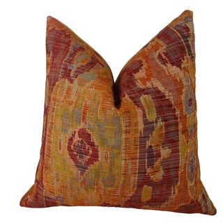 Plutus Ikat Multicolor Bear Canyon Handmade Double-sided Throw Pillow