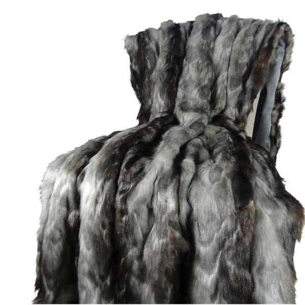 Plutus Brandy Grey Faux Fox Blanket