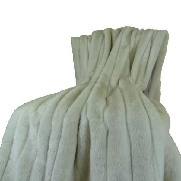 Plutus Fancy Ivory Faux Fur Mink Throw Blanket