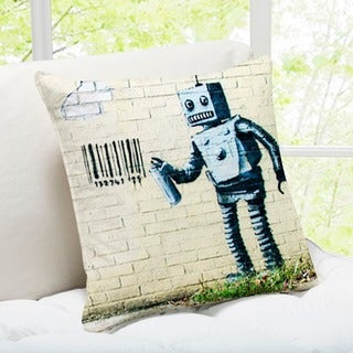 'Robot and Barcode' New York Banksy Art Throw Pillow