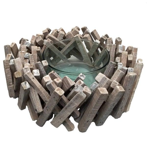 Driftwood Acacia Stick Bowl White Wash
