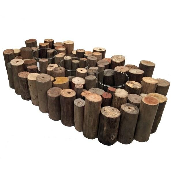 Handmade Driftwood Organ Natural 3-Votive (Philippines)