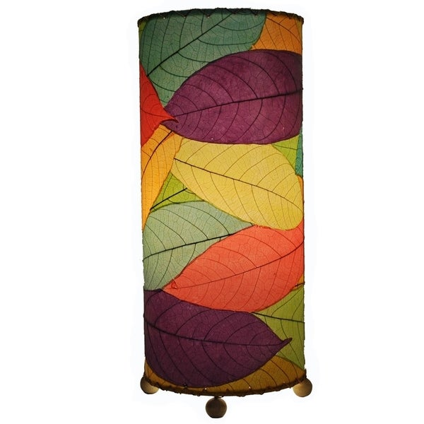 Handmade Eangee Cocoa Leaf Cylinder Lamp (Philippines)