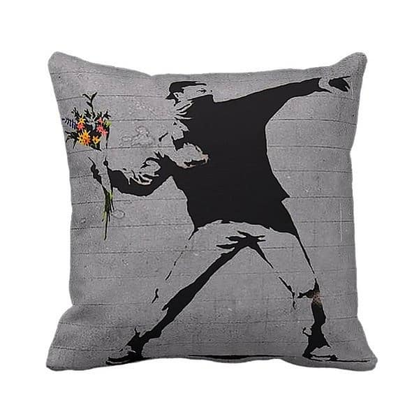 Rage Flower Thrower Banksy Throw Pillow Overstock 10462340