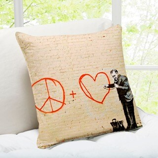 'Peaceful Hearts Doctor' San Francisco Banksy Art Throw Pillow