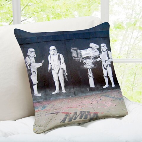 'Stormtroopers Filming Oscars' Hollywood Banksy Art Throw Pillow