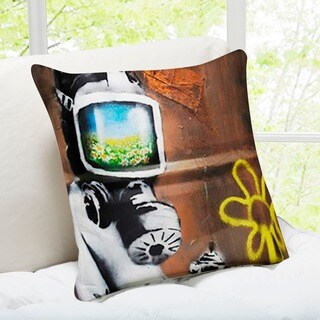 'Sunflower Field Gas Mask' London Banksy Art Throw Pillow