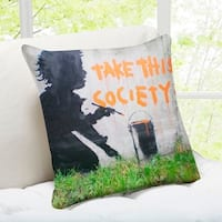 'Take This Society' London Banksy Art Throw Pillow