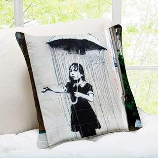 'Umbrella Girl' New Orleans Banksy Art Throw Pillow