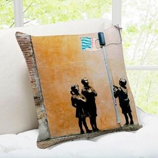 'Very Little Helpers' London 16-inch Banksy Art Throw Pillow
