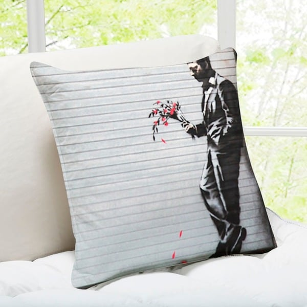 'Waiting In Vain' New York Banksy Art Throw Pillow