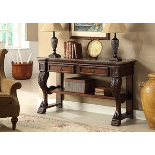 Treasure Trove Accents Dodson Brown Two Drawer Console Table