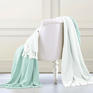 Amrapur Overseas 100-percent Cotton Mosaic Throws (Set of 2) (Option: Sky Blue)