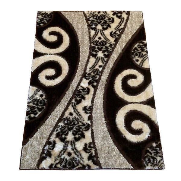LYKE Home Extra Plush 1002 Brown Area Rug (5'3 x 7'3) - 5'3 x 7'3