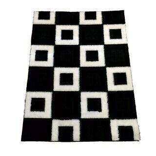 Lyke Home Extra Plush 1004 Black Area Rug (5'3 x 7'3)