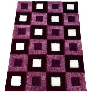 Lyke Home Rya Extra Plush 1004 Purple Area Rug (7'10 x 10'2)