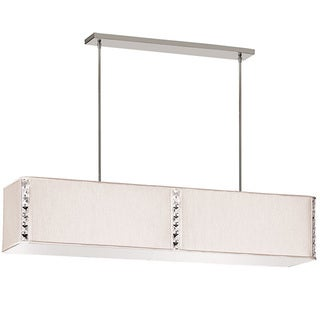 Dainolite 4-light Rectangular Elise Fixture with Crystal Accents in Polished Chrome in Cream Silk Glow Rectangular Shade