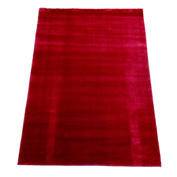 Lyke Home Rya Extra Plush Red Area Rug - 7'10 x 10'2