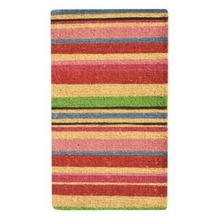 HomeTrax Designs Stripes Coir Mat (18-inch x 30-inch)