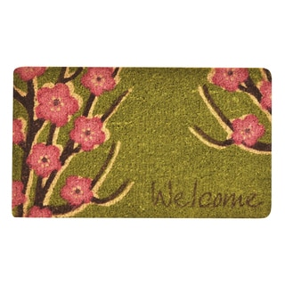 HomeTrax Designs Welcome Floral Coir Mat (18-inch x 30-inch)
